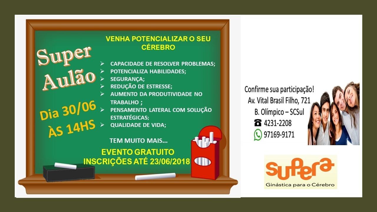 bc99582154 SUPER AULÃO-VENHA POTENCIALIZAR O SEU CÉREBRO - Sympla