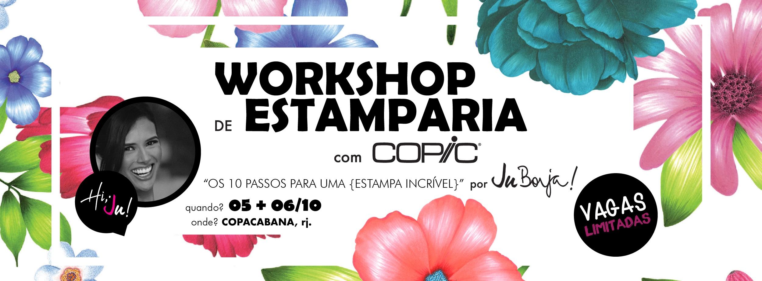 """7ff9d08ca1 Workshop de Estamparia com COPIC  """"os 10 passos para uma  ESTAMPA  INCRÍVEL """"   por Ju Borja. - Sympla"""