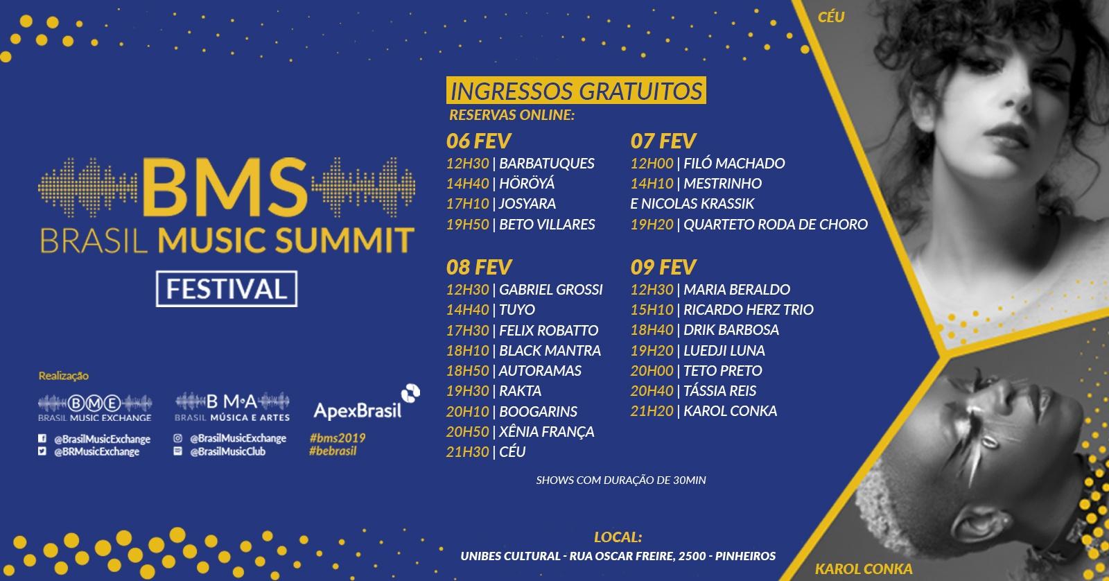 Brasil Music Summit acontece de 6 a 9 de fevereiro na Unibes Cultural. Imagem: Reprodução.