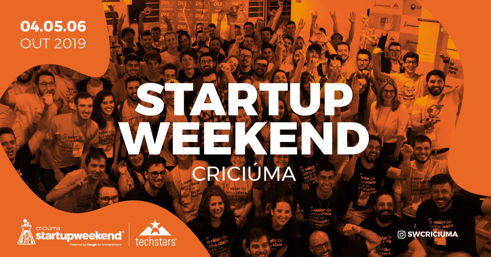 Resultado de imagem para Techstars Startup Weekend Criciúma 2019