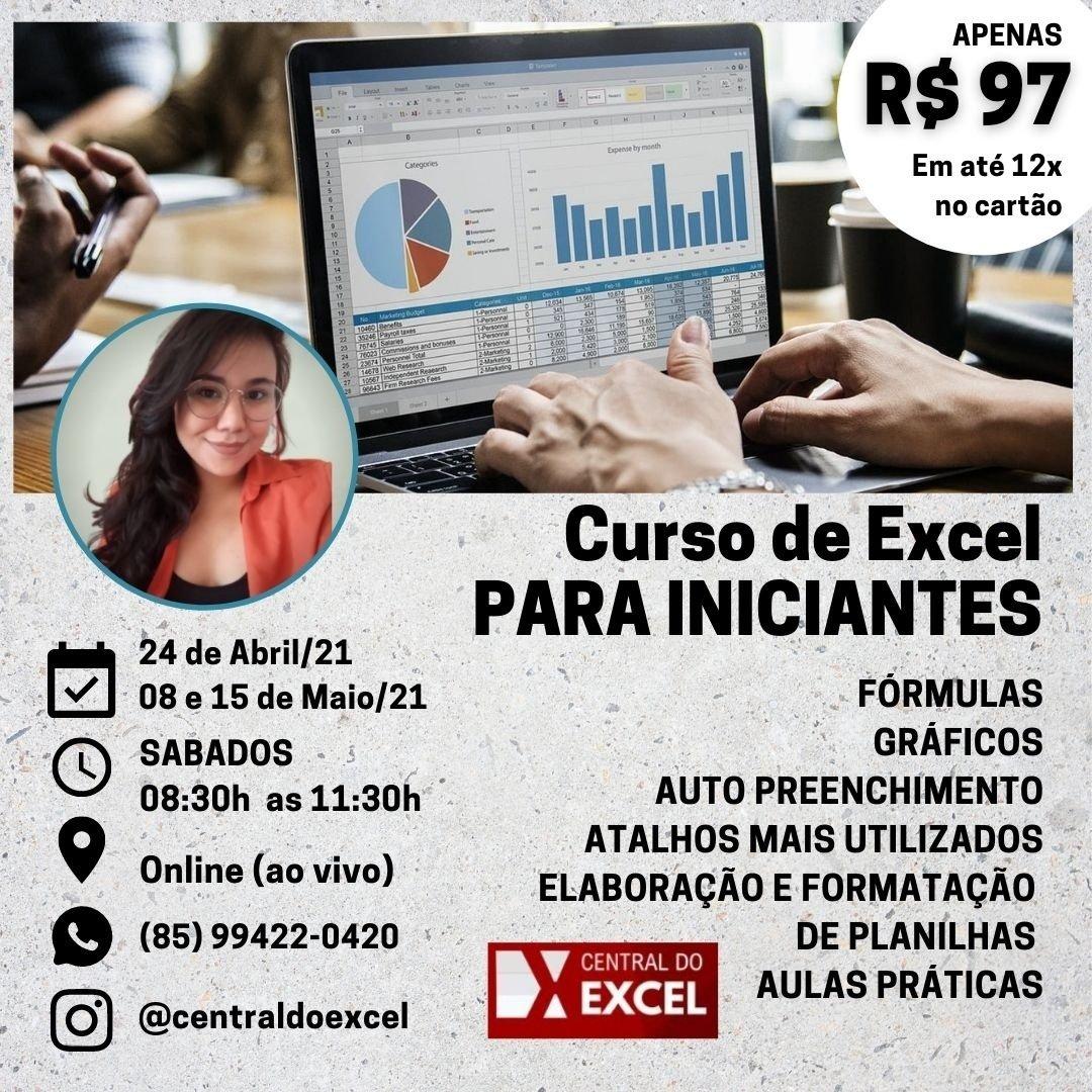 Excel para Iniciantes 20 On Line e AO VIVO  20h COM CERTIFICADO ...