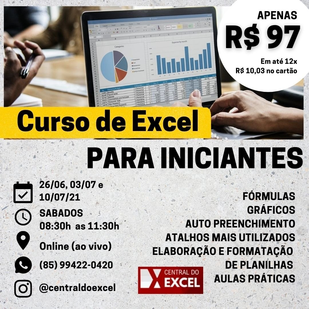 EZ20   Excel para Iniciantes 20 On Line AO VIVO  20h COM ...